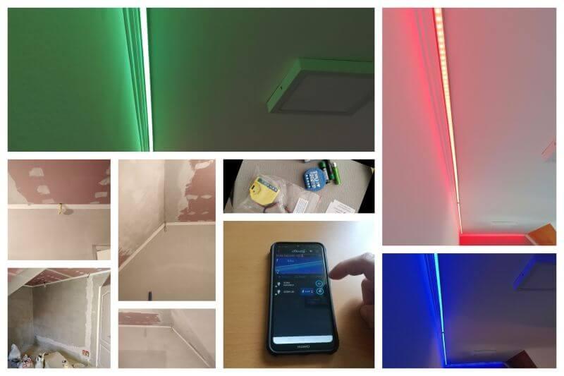 Villanyszerelési munkák keretében okos világítás kerül bemutatásra. Mobil telefonról dimmelhető LED világítás és távolról kezelhető szoba világítás kiépítése látható.
