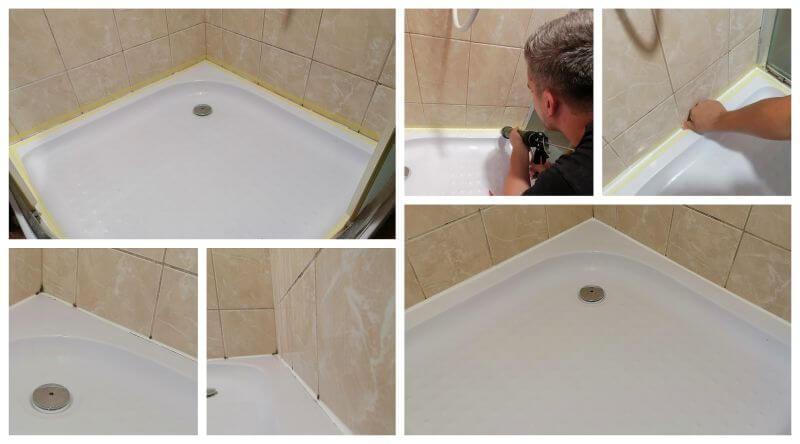 A fürdőszobában eszközölt kis munkák egyik leggyakrabban visszatérő problematikája a sziloplaszt elöregedése. Ennek cseréje látható a képen.