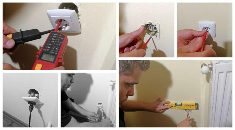 Villanyszerelési munkák egyik legalapvetőbb munkája látszik a képen, amikor egy falból kiszakadt konnektort helyesen rögzítünk.