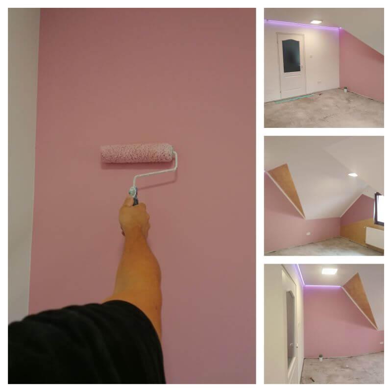 Tisztasági festés keretében a fal több színű árnyalattal és fehér színnel kombináltan lett kialakítva.
