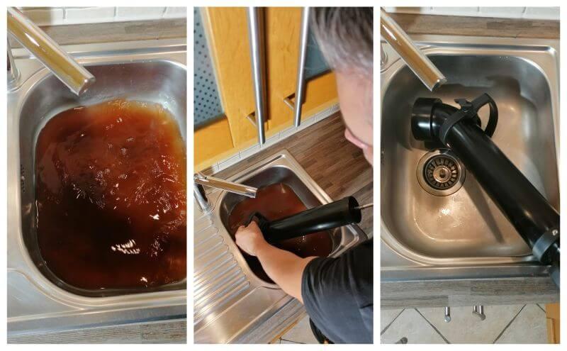Apró javítások a konyhában az eldugult konyhai mosogatótálca javítása pumpával.