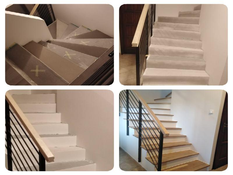 A kép a lépcsőfokok kialakítását mutatja gletteléssel és aljzatkiegyenlítővel.