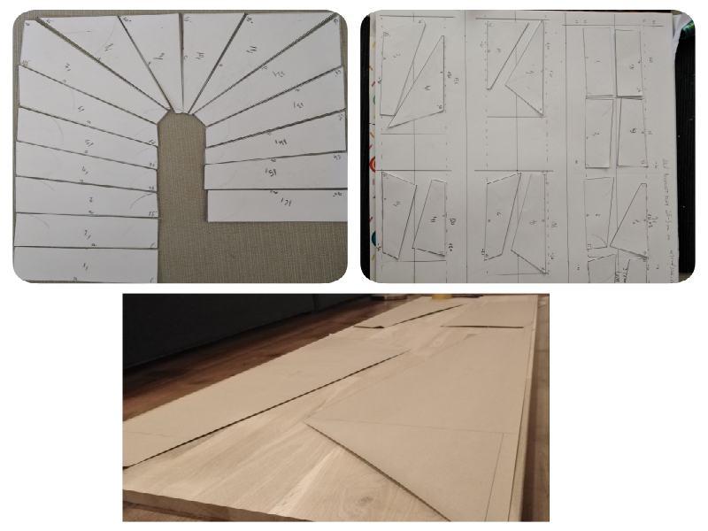 A képen a tervezés fázisa látható. Lépcsőterv sablonokkal.